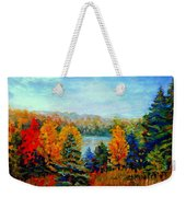 Autumn Landscape Quebec Red Maples And Blue Spruce Trees Weekender Tote Bag