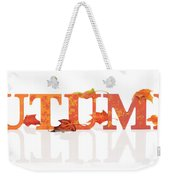 Autumn Letters With Leaves Weekender Tote Bag