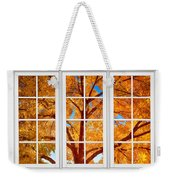 Autumn Maple Tree View Through A White Picture Window Frame Weekender Tote Bag