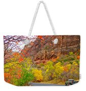 Autumn On Zion Canyon Scenic Drive In Zion National Park-utah  Weekender Tote Bag