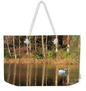 Autumn Pond Sunset With Swan Weekender Tote Bag