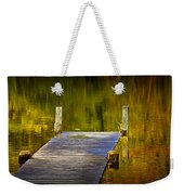 Autumn Reflections And Boat Dock On A Pond Near Yankee Springs Michigan Weekender Tote Bag