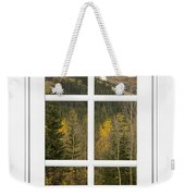 Autumn Rocky Mountain Glacier View Through A White Window Frame  Weekender Tote Bag
