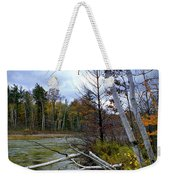 Autumn Scene Of Along The Shore Of The Platte River In Michigan Weekender Tote Bag