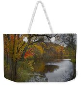 Autumn Scene Of The Flat River Weekender Tote Bag