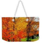 Autumn Trees By Barn Weekender Tote Bag