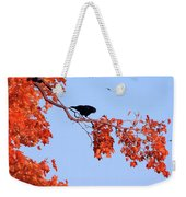 Autumn View Through Red Leaves Weekender Tote Bag
