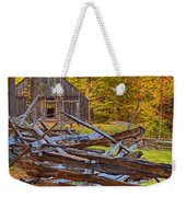 Autumn Wooden Fence Weekender Tote Bag