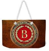 B - Gold Vintage Monogram On Brown Leather Weekender Tote Bag