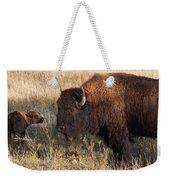 Baby Bison Meets Daddy Weekender Tote Bag