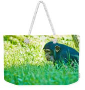 Baby Chimp In The Grass Weekender Tote Bag