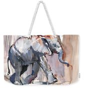 Baby Elephant, 2012 Mixed Media On Paper Weekender Tote Bag