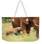 Baby Elephant Feeding Weekender Tote Bag