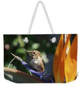 Baby Hummingbird On Flower Weekender Tote Bag