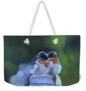 Baby Swallows On Post Weekender Tote Bag