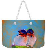 Baby Swallows Weekender Tote Bag by Sue Jacobi