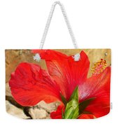 Back Of A Red Hibiscus Flower Against Stone Weekender Tote Bag