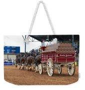 Back View Anheuser Busch Clydesdales Pulling A Beer Wagon Usa Weekender Tote Bag