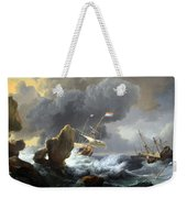 Backhuysen's Ships In Distress Off A Rocky Coast Weekender Tote Bag