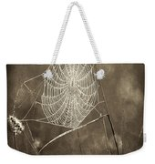 Backlit Spider Web In Sepia Tones Weekender Tote Bag