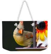 Backyard Female Cardinal Weekender Tote Bag