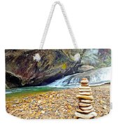 Balanced River Rocks At Birdrock Waterfalls Filtered Weekender Tote Bag