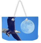 Bald Eagle And Full Moon Weekender Tote Bag