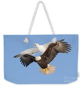 Bald Eagle And Greater Black-backed Gull Weekender Tote Bag