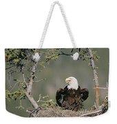 Bald Eagle Calling On Nest Alaska Weekender Tote Bag