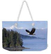 Bald Eagle In Flight Over The Inside Weekender Tote Bag