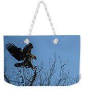 Bald Eagle Juvenile Landing In Tree Top Weekender Tote Bag