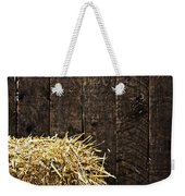 Bale Of Straw And Wooden Background Weekender Tote Bag