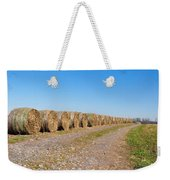 Bales Of Hay On An Old Farm Road Weekender Tote Bag