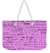 Ballet Terms Black On Pink  Weekender Tote Bag