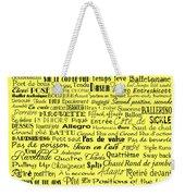 Ballet Terms Black On Yellow Weekender Tote Bag