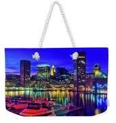 Baltimore Harbor By Night, Baltimore Weekender Tote Bag