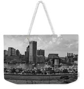 Baltimore Harbor Skyline Panorama Bw Weekender Tote Bag