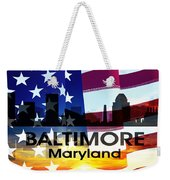 Baltimore Md Patriotic Large Cityscape Weekender Tote Bag