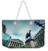 Bank Of England The Royal Exchange And The Wellington Statue Londonuk Weekender Tote Bag