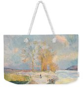 Banks Of The Seine And Vernon In Winter Weekender Tote Bag by Albert Charles Lebourg