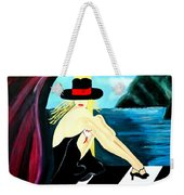 Bar Scene Lady With Hat By The Water Weekender Tote Bag
