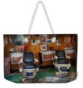 Barber - Frenchtown Nj - Two Old Barber Chairs  Weekender Tote Bag by Mike Savad