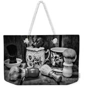 Barber - Shaving Mugs And Brushes In Black And White Weekender Tote Bag
