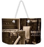 Barber - Vintage Barber Tools - Black And White Weekender Tote Bag