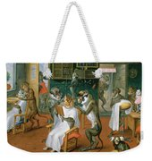 Barbers Shop With Monkeys And Cats Oil On Copper Weekender Tote Bag