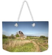 Barn In A Field With Hay Bales Weekender Tote Bag