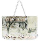 Barn In Snow Christmas Card Weekender Tote Bag