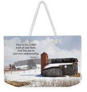Barn In Winter With Scripture Weekender Tote Bag