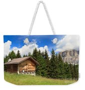 barn on Alpine pasture Weekender Tote Bag