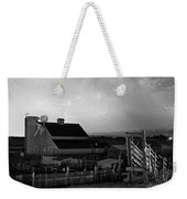 Barn On The Farm And Lightning Thunderstorm Bw Weekender Tote Bag by James BO  Insogna